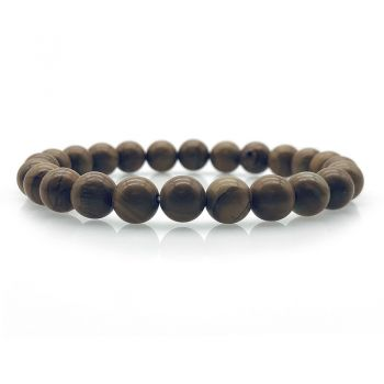 Australian Made  Natural Wood Lace Stone Beaded Stretch Bracelet