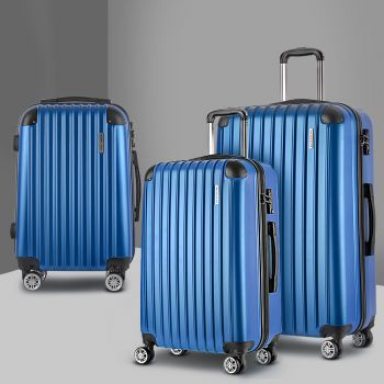 Wanderlite 3pc ABS Luggage Sets Suitcases Trolley Set TSA Hard Case Lightweight Blue