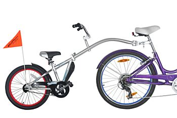 WeeRide Tagalong - Silver - Kid Child Rear Attachment Half Wheeler Trailer Bike Cycle Tagalong