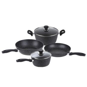 Gourmet Kitchen 4 Piece Marble Non Stick Stone Coated Cookware Set With 2 Lids - Black