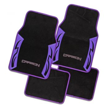 Carbon Purple Carpet Car Floor Mats Universal Fit