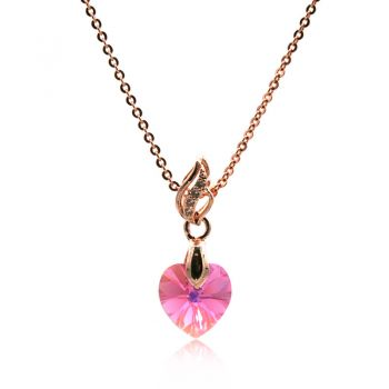 Gorgeous Xillion Heart Rose AB Colour Adorned with  Swarovski® Crystal & CZ Rose Gold Plated Pendant Necklace