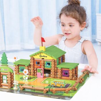270PCS Wooden Logs Toys Country School Playset Construction Toys Building Set