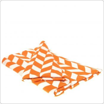 Luxury Cotton Knitted Throw 130x180cm Orange-Natural