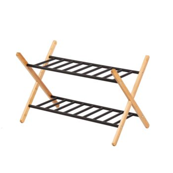 Sherwood Home 2-Tier Portable Natural Bamboo and Metal Shoe Rack - Light Brown- 66X35.5X42cm
