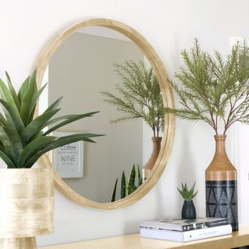 TINA 60cm Light Solid Wood Mirror