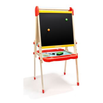 TOP BRIGHT Wooden Art Easel for Kids Toddler Height Adjustable Child Easel with Magnetic Chalkboard