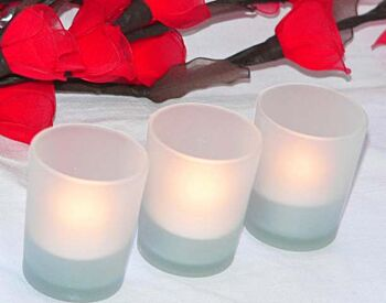 24 Pack - White Frosted Cylinder Shot Glass TeaLight Candle Holder - 6.5cm height - event table decoration