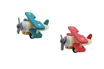 PRICE FOR 12 ASSORTED RETRO WOODEN PULL BACK BIPLANE