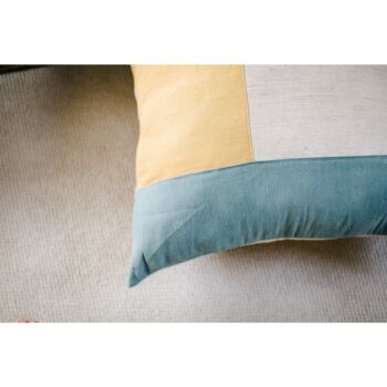 Plonk Floor Cushion Cover Jute Linen Collection- Grey Blue And Golden