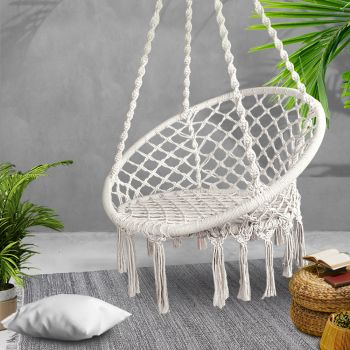 Gardeon Outdoor Swing Hammock Chair Indoor Rope Portable Camping Hammocks Cream