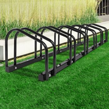 6 Bike Floor Parking Rack Instant Storage Stand Bicycle Cycling Portable Racks Black