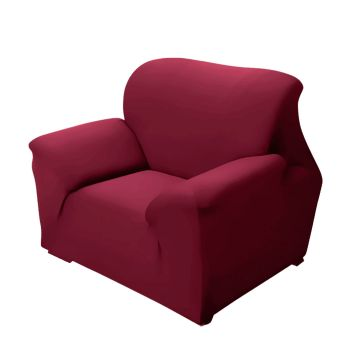Easy Fit Stretch Couch Sofa Slipcovers 1 Seater in Burgundy