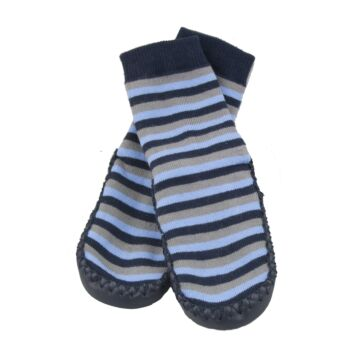 SKEANIE Leather and Cotton Moccasin Baby Socks Blue/Gray Stripes