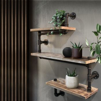 Artiss Industrial DIY Pipe Shelf Display Wall Shelves Brackets Vintage Bookshelf