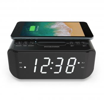 WIRELESS CHARGING CLOCK RADIO