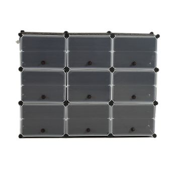 6 Tier Cute Cabinet Stackable Organiser for Shoes in Black with 3 Columns