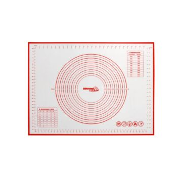 Gourmet Kitchen Non-Stick Oven And Dishwasher Safe Silicone Pastry Baking Mat With - Red/White - 40X50Cm
