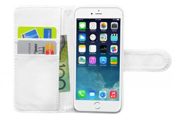 Folio Wallet Pu Leather Case Cover/Card Holder/ Pocket For iPhone 6/6S White