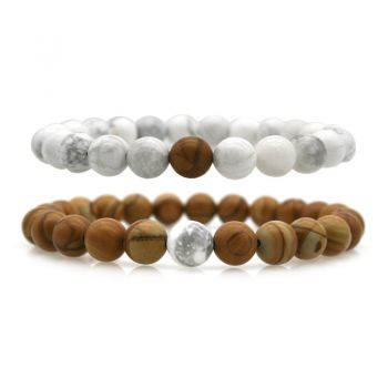 2pcs Natural White Howlite & Natural Wood Lace Stone Beaded His & Hers Couple Relationship Bracelets