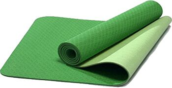 TPE Eco-Friendly Yoga Mat Dual Layer Non-Slip for Pilates Fitness & Exercise - Lime