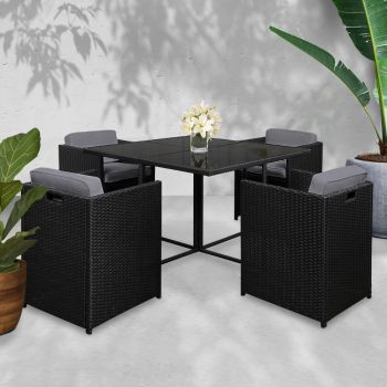 Outdoor Dining Set Patio Furniture Outdoor Setting Table Chairs Wicker Set Garden 5PCS Black Gardeon