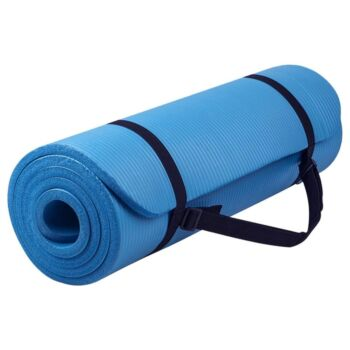15MM NBR Yoga Mat Thick Nonslip Pad Fitness Wide Exercise Pilate Gym Strap Bag Blue