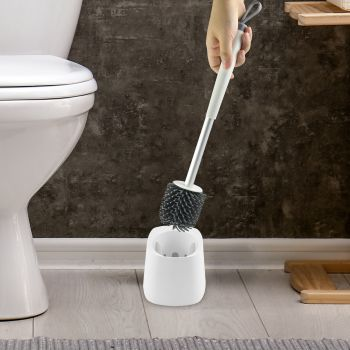 Toilet Brush With Holder Soft Bristle Bathroom Cleaning Tool Home/Office Set