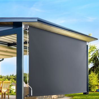 Instahut Retractable Straight Drop Roll Down Awning Garden Patio Screen 2.7X2.5M