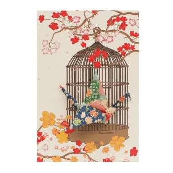 Small Card Crane in Cage Blossom Green