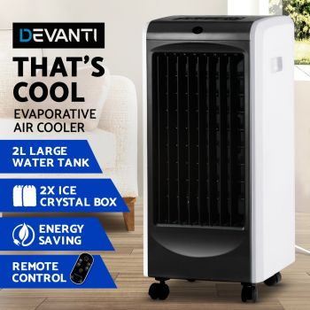 Devanti 2L Evaporative Air Cooler w/Reomote ControlPortable Fan Water Cool Mist Conditioner Humidifier Black