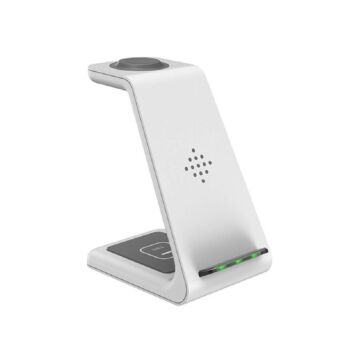 BOOC 3-in-1 Premium Qi-Certified Wireless Fast Charging Stand for Various Galaxy Phones, Buds and Watches (White)