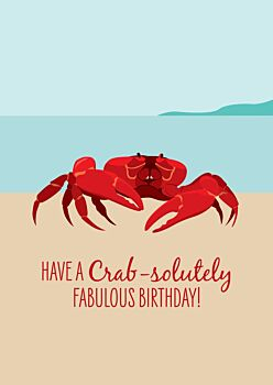 Birthday Card - Red Crab