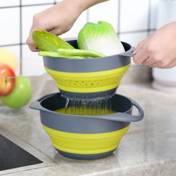 Gourmet Kitchen COLLAPSIBLE COLANDER AND MIXING BOWL - Yellow/Grey
