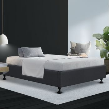 Artiss King Single Size Bed Base Frame Mattress Platform Fabric Wooden TOMI Charcoal