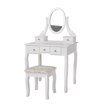 Levede Dressing Table and Stool Set with 1 Mirror and 5 Drawers in White Colour
