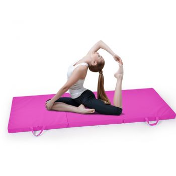 Folding Exercise Floor Mat Dance Yoga Gymnastics Training in Pink