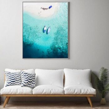 Aerial View Of White Sand Beach and Turquoise Beach, Blue Boats And Colourful Umbrellas , Wall Art