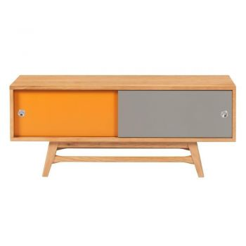 6IXTY Scandinavian TV Stand Cabinet Entertainment Unit - 120cm - Orange & Grey