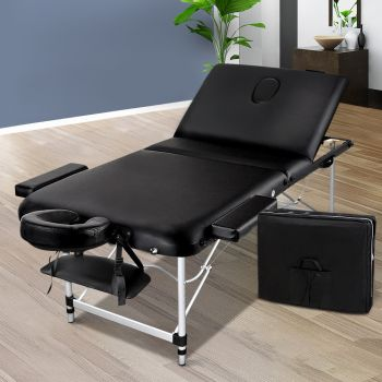 Zenses 75cm Portable 3 Fold Aluminium Massage Table Therapy Beauty Waxing Bed