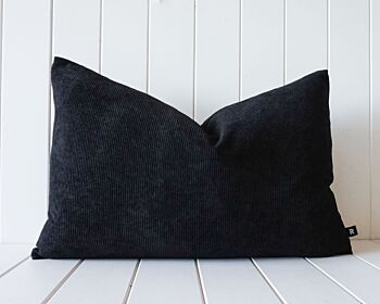 Indoor Cushion - Feather Insert - Black Corduroy - 60x40