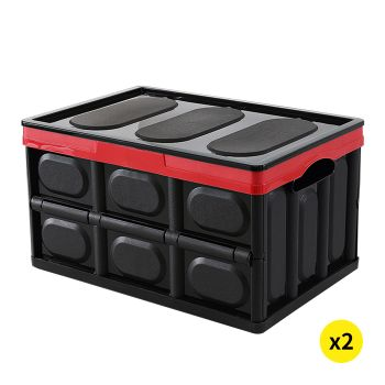 2x Collapsible Foldable Car Boot Organiser in Black