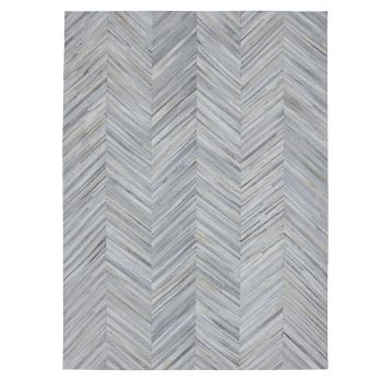 Hand Made Genuine Cowhide Patchwork Rug in Silver Grey Chevron. Size 230x320 cm