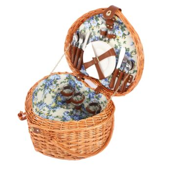 Sherwood Home Adelaide Natural Heat-Shaped Wicker Picnic Basket 4 People  - 43X37X25Cm