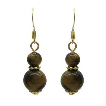6-10mm Natural Round Tiger Eye Gold Plated Drop Earrings