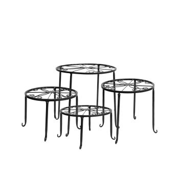 4 x Levede Plant Stand Indoor Outdoor Metal Round Rack Black Colour