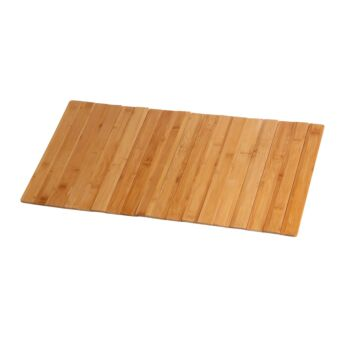 Sherwood Home Bathroom/Kitchen Foldable Bamboo Floor Mat - Natural Brown