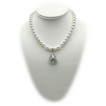 8mm Pendant Charm Necklace Adorned with Swarovski® Pearls & Silver Blister Freshwater Pearl