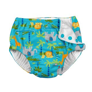 Snap Reusable Absorbent Swimsuit Diaper-Aqua Jungle