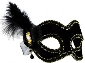 Masquerade Mask - Black w/Side Feather